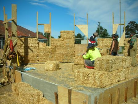 17. Sustainable Building Project - Building the Strawbale Walls - Photo 2.JPG