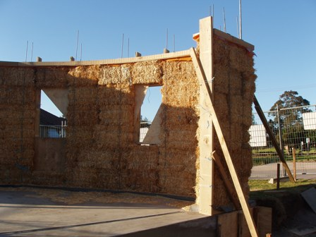 20. Sustainable Building Project - Building the Strawbale Walls - Photo 5.JPG