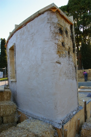24. Sustainable Building Project - Rendering the Strawbale Walls - Photo 1.jpg