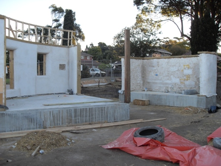 27. Sustainable Building Project - Rendering the Strawbale Walls - Photo 4.JPG