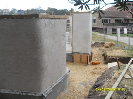 28. Sustainable Building Project - Rendering the Strawbale Walls - Photo 5.JPG
