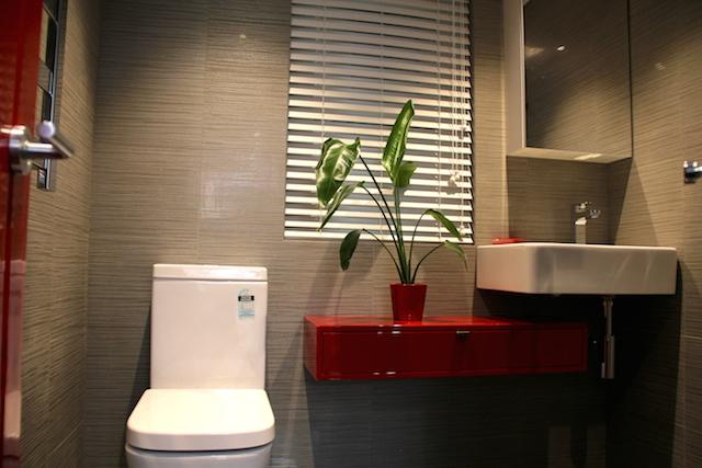 red bathroom with door.JPG